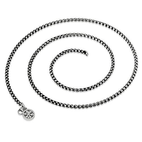 Epinki Titan Herren Halskette Venezianierkette Herrenkette Freundschaftsketten (Nur Kette) Schwarz Silber 60cm 3mm