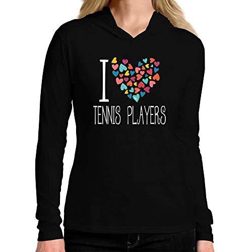 Idakoos I Love Tennis Players Colorful Hearts Damen Kapuze Langarm T-Shirt M -