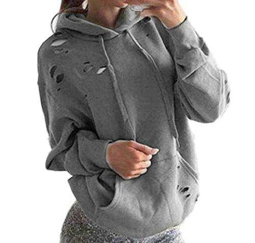 WOCACHI Damen Frauen lösen beiläufige Löcher Langarm Sweatshirt Pullover Tops Shirt Mantel (XL, hellgrau)