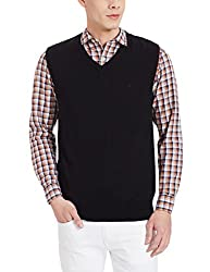 Louis Philippe Mens Cotton Sweater (8907545131058_LPSW516M12242_XX-Large_ Black Solid )