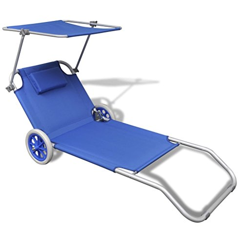 Vidaxl lettino pieghevole mare spiaggia sole con parasole e ruote alluminio blu