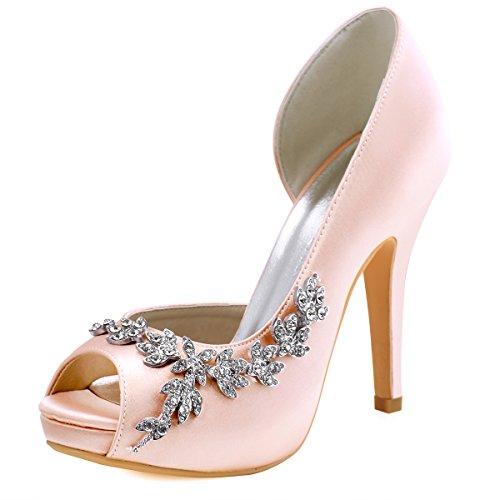 Elegantpark hp1560iac donna partito pompe peep toe d'orsay strasss tacco a spillo satin scarpe da sposa blush eu 37