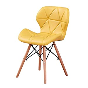 CJH Leder Rückenlehne Stuhl einfache Freizeit Hocker Kaffee Haushalt Stuhl Holz Stuhl Bein weich und komfortabel grün orange gelb schwarz weiß (Color : Yellow)