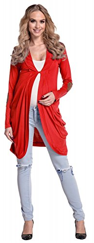 Happy Mama Femme Maternité. Cardigan en jersey coupe cocon manches longues. 286p Rouge