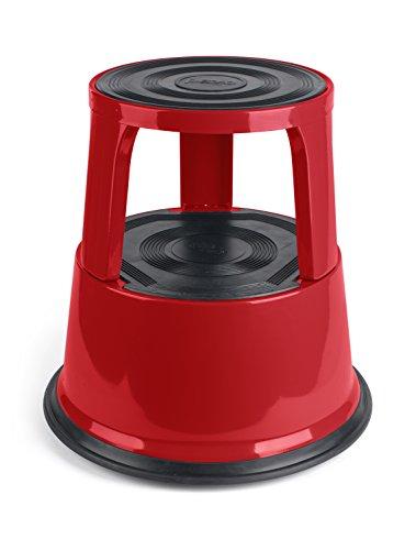 Pavo 8041985 premium step stool sgabello da lavoro, con rotelle, fino a 150 kg, in metallo, rosso