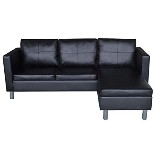 Festnight 3-Sitzer L-Form Schnittsofa Loungesofa Ecksofa Kunstleder L-förmiges Sofa mit 3 Kissen Schwarz