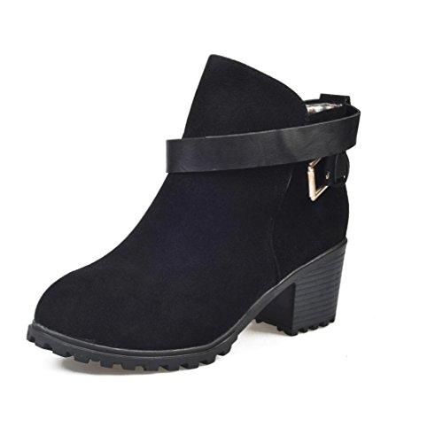 Damen Winter Frau Vintage Schuhe Mode Mädchen Dicke Stiefel Warme Schuhe Gürtelschnalle Stiefel Schuhe (35, Schwarz) ()