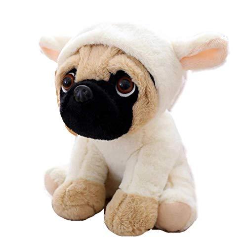 Kostüm Mops Babys - FONGFONG Weich Plüschtier Mops Hund mit Kostüm Kuscheltier 20 cm Gefüllte Puppe für Dekorieren Kinder Spielzeug Geschenke Lamm