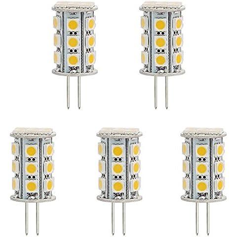 hero-led trasera Pin Torre T3G4Base Bi Pin JC LED Halógeno Bombilla de Repuesto de xenón, 12V AC/DC o 24V DC, lámparas de escritorio, lámparas colgantes, luces de Puck, carbono, luces under-cabinet, Marine, barcos, Yates, Accent, pantalla, el paisaje y Iluminación General, 24ledes SMD, 40–45W Replacement, 5-Pack, Daylight White 5000K, G4, 4.80 wattsW 12.00