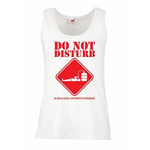 Serbatoio,Maglietta senza maniche femminile Alcol del sangue Esperimento in progresso - camicie divertenti da bere Bianco Rosso