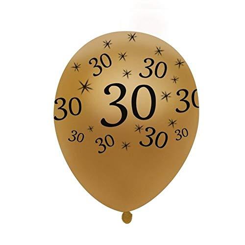 EROSPA® 10 Stück Luftballon Zahlen - Runder Geburtstag Jahrestag Hochzeit - 30 Jahre - Gold - 30 cm (30)