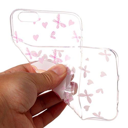 Custodia per iPhone 6 Plus / 6S Plus 5.5 ,JIENI Cover Trasparente Dreamcatcher Due fiori colorati TPU Silicone Morbido Sottile Protettivo Bumper Protettiva Case per iPhone 6 Plus / 6S Plus 5.5 XY18