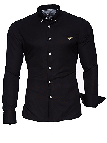 KAYHAN Homme Chemise Slim Fit Repassage facile, Manches Longues Modell - Oxford Black