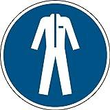 Brady 819315 obbligatoria Cartello in poliestere laminato, indossare indumenti di protezione, 200 mm di diametro, colore: bianco/blu