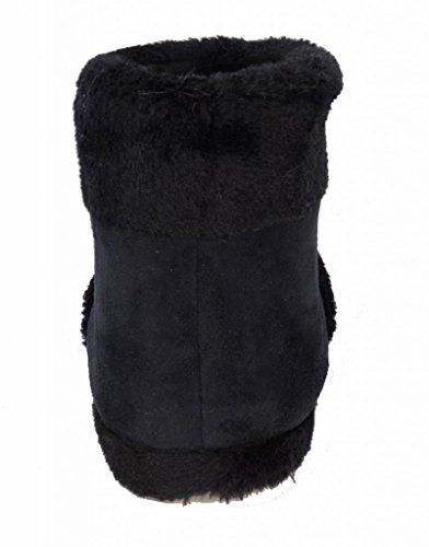 Dunlop Benjamin Herren Hausschuhe/Stiefel, Wildlederimitat, mit Kunstfellfutter, verschiedene Größen erhältlich Schwarz