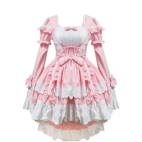 rosa Anime - Lolita - Gothic - mädchen Halloween verkleiden Cosplay - kostüme schickes Kleid (Rosa)