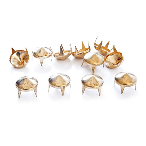 9mm Messing Punk Nieten Kegel Nieten–Perfekt für Tasche, Kleidung oder Leder Basteln niedrige Konus von Hochzeit Decor UK, metall, gold, 100 Stück (Druck-tasche Perfekter)