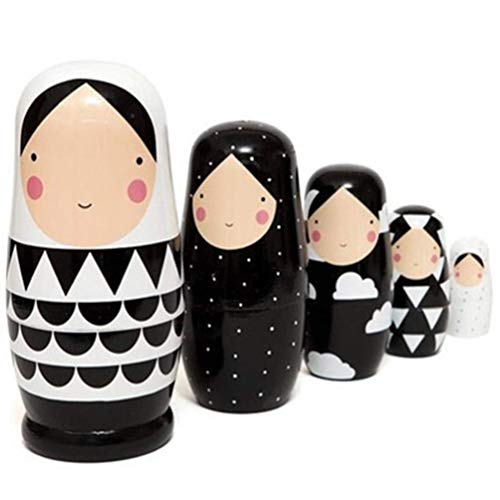 JJSFJH 5 Stück Puppen Winter Puppe russische Nesting Spielzeug for Kinder Geschenk Aussehen, sie sind wie eine Familie. (Kostüm Der Russischen Folklore)