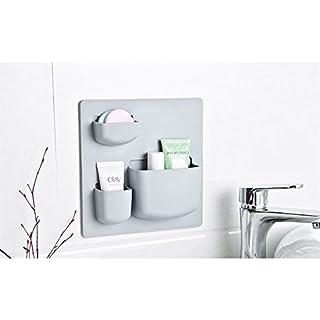 AZX Home Storage Case Suction Cup Wall Closet Door Plastic Storage Rack 3 Pockets Bedroom Bathroom Kitchen Organizer For Cosmetic Toiletries Sundries Random Color (Short Design)