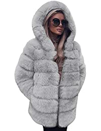 VICGREY ❤ Giacca Scialle Pelliccia Sintetica Donna Casuale Scialle Elegante  Caldo Cappotto Invernale a Maniche Lunghe c1f7b946f85