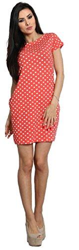 Glamour Empire Damen Elastischer Minikleid Tunika Punktmuster Seitentaschen. 992 Koralle