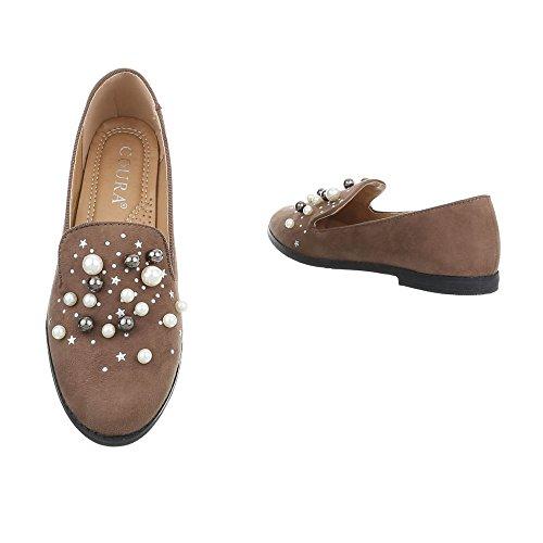 Chaussures femme Mocassins Bloc Slippers Ital-Design bronzage