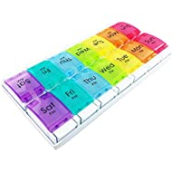 JFA Medical Weekly Pill Box Organiser/Reminder for Medicines Supplements, Vitamins, 7days, 2 compartments per Day