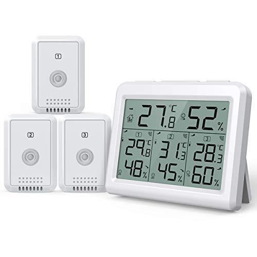 Brifit Hygrometer Thermometer, Innen Außen Thermometer Hygrometer Digital Innen Außentemperatur und Luftfeuchtigkeit Monitor mit 3 Sensoren, Großem LCD Display, ℃/℉, MIN/MAX, Komfortanzeige -