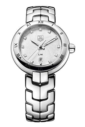 Tag Heuer Link, orologio al quarzo da donna, con quadrante color argento e diamanti incastonati, display analogico e cinturino in acciaio inox argentato, WAT1411.BA0954