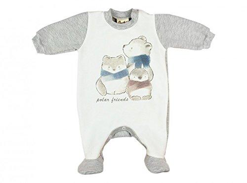 (BABY-STRAMPLER mit Füßchen, WARM GEFÜTTERT, Spiel-Anzug mit Druckknöpfen, BABY-SCHLAFANZUG LANG-ARM, Grösse 50, 56, 62, 68, 74, Geschenk für Neugeborene, rosa, blau und grau Color Blau, Size 56)