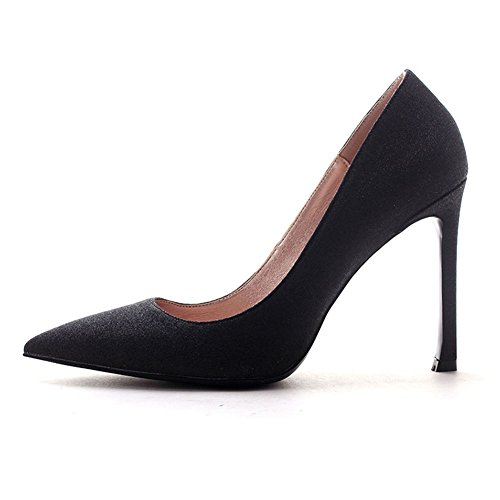 YIXINY Escarpin DA107 Chaussures Femme Sequin Tissu + PU Talon Mince Pointu La Bouche Peu Profonde Robe De Mariée 10 CM Talons Hauts Noir