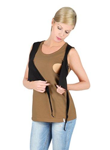 Be mama! 2 en 1–shirt still still umstandstop schwangerschaftsshirt, top-modèle :  sALLY t-shirt top ou au choix! Multicolore - Top - beige-schwarz