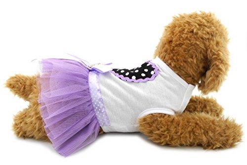 SELMAI Prinzessinnen-Kleid für kleine Hunde und Katzen, gepunktet, mit Tutu-Kleid, XL, Lavendel -
