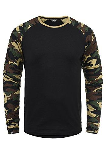 !Solid Cajus Herren Longsleeve Langarmshirt Shirt Mit Camouflage-Muster Und Rundhals-Ausschnitt Aus 100% Baumwolle, Größe:L, Farbe:Black Dusty (D9000)