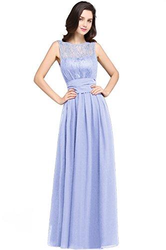 MisShow Damen Rund-Ausschnitt Abendkleid Abschlussballkleid Chiffon Festkleider Lavender Gr.44