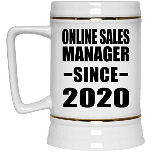 Online Sales Manager Since 2020-22oz Beer Stein Bierkrug Keramik Bierhumpen Bar Becher Kneipenkrug - Geschenk zum Geburtstag Jahrestag Muttertag Vatertag Ostern Sale Vintage Milk Glass