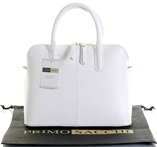 Italian Textured White Leather Hand Made Bowling Style Tote Grab Bag or Shoulder Bag. Includes a Branded Protective Storage Bag