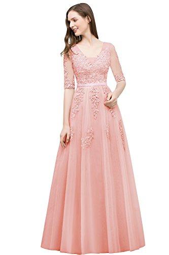 Damen Altrosa Perlstickerei Spitze Brautkleid Hochzeitskleid Standesamt Applique Tüll lang 46