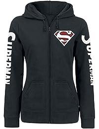 Superman Red Logo Veste à Capuche Femme noir