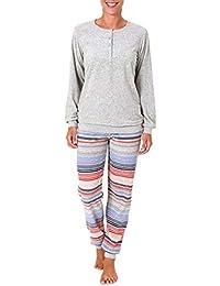 12ac0c1bc36390 NORMANN WÄSCHEFABRIK Damen Frottee Pyjama mit Bündchen & Knopfleiste am  Hals, auch in Übergrößen bis