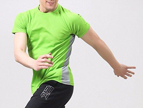 QIYUN.Z Männer Sommer Schnell Trocknend Outdoor-Sport Kurzarmhemden Turnhalle Laufen T-Shirt Frucht Grün