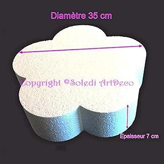 Lealoo – Base Plana Grande 2D de poliestireno Blanco, diámetro 35 cm x Grosor 7 cm, Soporte para Centro de Mesa.