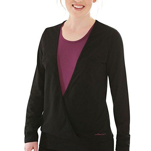 Comazo Earth Damen Shirt - Fairtrade - Bio Baumwolle - Langarm Shirt - Wellness-Shirt - Yoga-Shirt - Loungewear Damen - Farbe Schwarz - Größe 36 bis 44 Schwarz