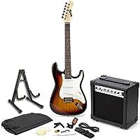 RockJam RJEG01-SK-SB elektrische Gitarre Super Kit in voller Größe mit 20 Ws Verstärker, Gitarren-Ständer, Gehäuse, Tuner und Zubehör