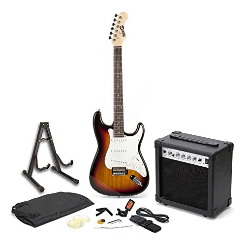 RockJam RJEG01-SK-SB elektrische Gitarre Super Kit in voller Größe mit 20 Ws Verstärker, Gitarren-Ständer, Gehäuse, Tuner und Zubehör - Gitarre Elektrische Kits