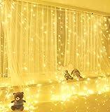 Yizhet Luci per Tende 3x3m 300 LED Tenda Luminosa, Luci Tende Luminosa con Telecomando 8 Modalità Tenda Luci Led per Finestra Impermeabilità Decorazione per Natale,Giardino(Bianco Caldo)