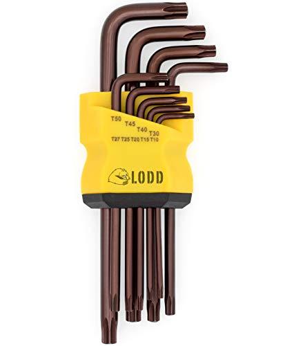Jeu de 9 clés Torx Etoile Haute Résistance en Acier S2 anodisé bronze avec têtes percées, bras longs et support de rangement - LODD