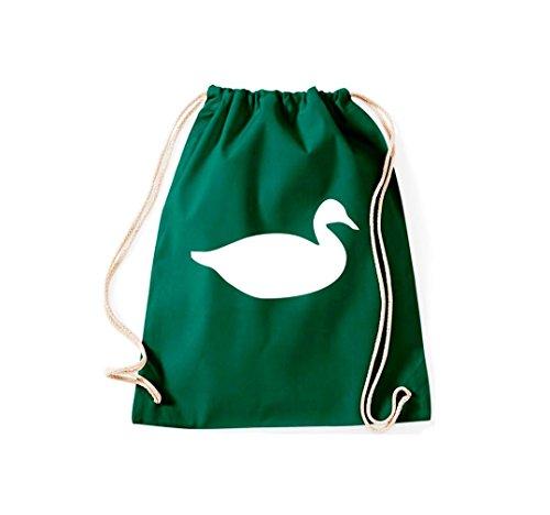 Turnbeutel Tiermotive Zoo Ente duck Gymsack Kultsack Dunkelgrün