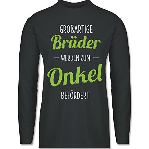 Bruder & Onkel - Großartige Brüder werden zum Onkel befördert - Longsleeve / langärmeliges T-Shirt für Herren Anthrazit