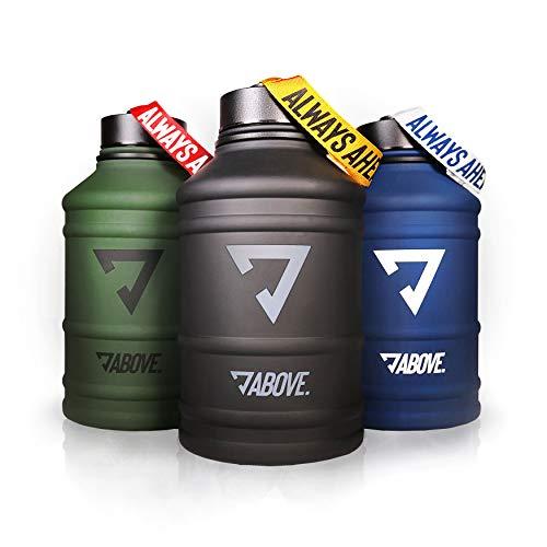 ABOVE. Water Jug Edelstahl Matt I 2 Liter Trinkflasche für Sport, Fitness, Gym, Camping, Outdoor I XL Gallone I BPA Frei I Auslaufsicher I Bruchsicher (Blau)